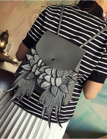 Trendy Gray Wing Shape Decorated Pure Color Simple Backpack