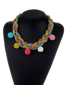 Trendy Mutli-color Fuzzy Balls Decorated Color Matching Simple Necklace