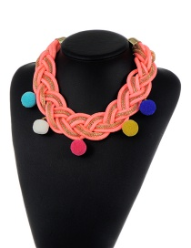 Trendy Mutli-color Fuzzy Balls&tassel Decorated Color Matching Necklace