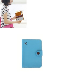 Fashion Royalblue Airplane Shape Pattern Decorated Pure Color Passport Wallet