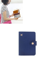 Fashion Blue Airplane Shape Pattern Decorated Pure Color Passport Wallet