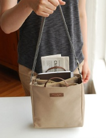 Fashion Beige Letter Decorated Simple Color-matching Waterproof Travelling Bag