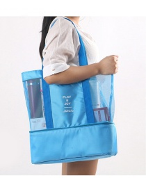 Fashion Blue Pure Color Decorated Shoulder Design Heat Preservation Storage Bag