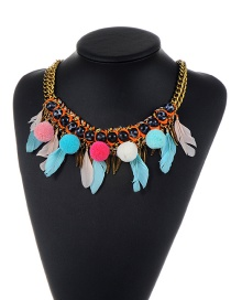 Bohemia Multi-color Fuzzy Ball &feather Decorated Simple Short Chain Necklace