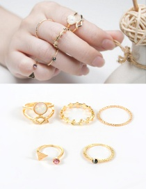 Fashion Gold Color Pure Color Decorated Geometric Shape Simple Ring(5pcs)