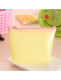 Fashion Yellow Pure Color Decorated Trapezoid Shape Transparent Wallet