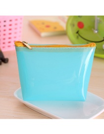 Fashion Blue Pure Color Decorated Trapezoid Shape Transparent Wallet
