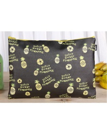 Fashion Black Pineapple Pattern Decorated Square Shape Stationery Bag