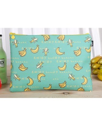 Fashion Blue Banana Pattern Decorated Square Shape Stationery Bag