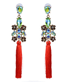 Vintage Red Flower Shape Decorated Simple Long Tassel Earrings