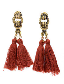 Bohemia Dark Red Double Tassel Pendant Decorated Simple Long Earrings
