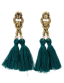 Bohemia Green Double Tassel Pendant Decorated Simple Long Earrings