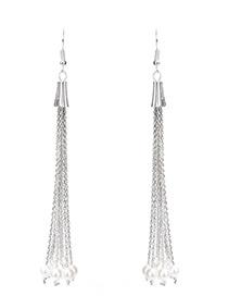 Elegant Silver Color Pure Color Decorated Simple Long Tassel Design Earrings