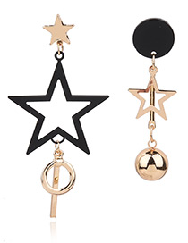 Fashion Gold Color Hollow Out Star Decorated Simple Asymmetry Earrings