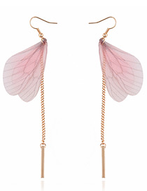 Lovely Pink Butterfly Wing Shape Decorated Simple Long Chain Earrings