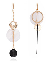 Fashion Gold Color Round Shape Decorated Simple Long Chain Earrings