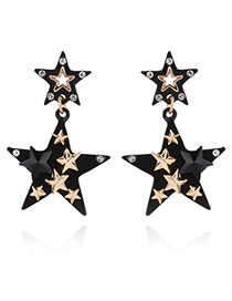 Fashion Black Star Shape Decorated Simple Color Matching Design Earrings