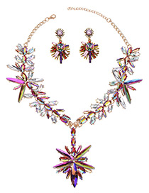 Exaggerate Multi-color Geometric Shape Diamond Decorated Simple Jewelry Sets