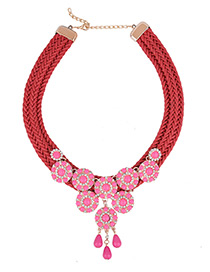Bohemia Red Round Shape Decorated Simple Hand-woven Short Chain Necklace