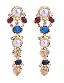 Elegant Multi-color Round Shape Diamond Decorated Simple Long Earrings