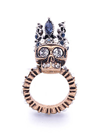 Personality Gold Color Skull&royal Crown Shape Decorated Simple Ring