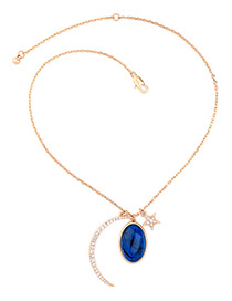Fashion Gold Color Oval Gemstone&star Shape Pendant Decorated Simple Necklace
