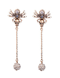 Personality Bronze Metal Spider &skull Decorated Simnple Earrings