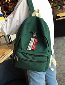 Fashion Green Pure Color Decorated Square Shape Simple Backpack