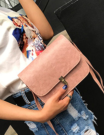 Trendy Pink Buckle Decorated Pure Color Simple Shoulder Bag