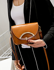 Fashion Brown Buckle Decorated Pure Color Simple Shoulder Bag