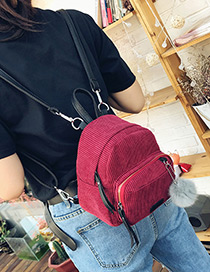 Fashion Red Fuzzy Ball Decorated Pure Color Simple Backpack