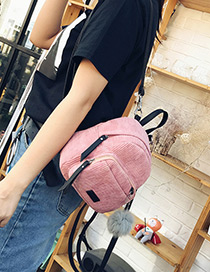 Fashion Pink Fuzzy Ball Decorated Pure Color Simple Backpack