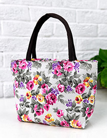 Lovely White Painting Flower Pattern Decorated Square Shape Handbag