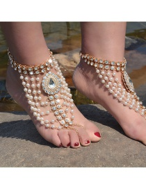 Fashion Gold Color Pearl&diamond Decorated Pure Color Simple Anklet