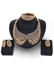 Fashion Gold Color Diamond Decorated Pure Color Hollow Out Jewelry Sets