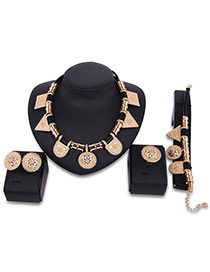 Fashion Gold Color Geometric Shape Decorated Pure Color Simple Jewelry Sets