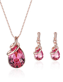 Fashion Rose Gold+plum Red Water Drop Shape Diamond Decorated Color Matching Jewelry Sets