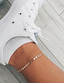 Elegant Gold Color Paillette Decorated Pure Color Simple Anklet