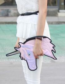 Fashion Pink Unicorn Shape Decorated Simple Color Matching Handbag