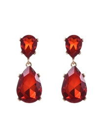 Fashion Red Water Drop Shape Diamond Decorated Pure Color Earrings