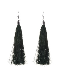 Bohemia Gark Green Pure Color Decorated Simple Tassel Earrings