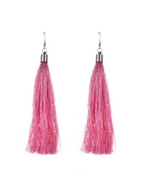 Bohemia Pink Pure Color Decorated Simple Tassel Earrings
