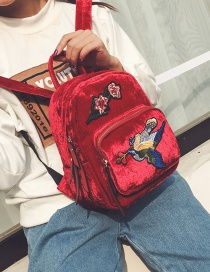Trendy Red Embroidery Flower&bird Decorated Pure Color Backpack