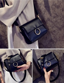 Fashion Black Circular Ring Decorated Pure Color Shoulder Bag