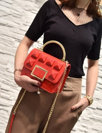 Fashion Red Rivet Decorated Pure Color Simple Shoulder Bag