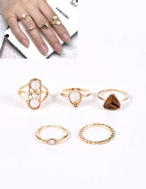 Fashion Gold Color Diamond Decorated Irregular Shape Ring (5pcs)