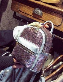 Fashion Multi-color Zipper&sequins Decorated Pure Color Simple Backpack
