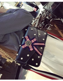 Fashion Black Bowknot&rivet Decorated Pure Color Simple Shoulder Bag