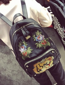 Fashion Black Embroidery Flower&tiger Shape Decorated Simple Backpack