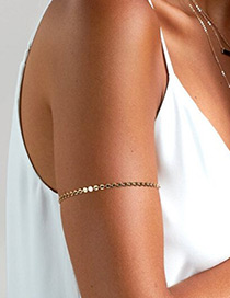 Elegant Gold Color Paillette Decorated Pure Color Simple Arm Chain